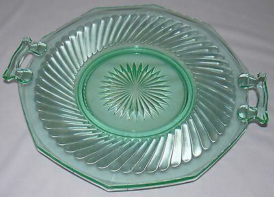 """Lot Set Of 2 Green Glass 11"""" Footed Plate Bowl 12"""" Plate With Handles Party Dish 2"""