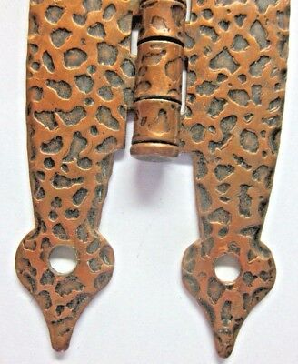 1 Antique Face Mount Butterfly Hinge Hammered Leopard Copper Colonial Spade Ends 3