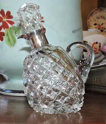 Vinegar Decanter Silver Mounted Cut Glass Birmingham 1935 Jubilee Hallmarks 5