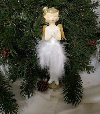 3er Set X-MAS Engel Gold Glitzer Flügel Stand Figuren Weihnachts Dekoration weiß