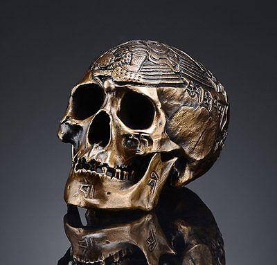 Handmade Bronze Casting Kapala Carved Mini Human Skull Tibetan Buddhism O151