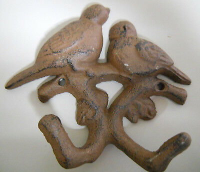 Cast Iron GARDEN BLUE BIRDS Coat Hooks Hook Rack Towel DOVES BIRD 2