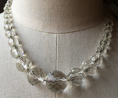 Vintage Frosted Cut Glass Single Strand Beaded Necklace
