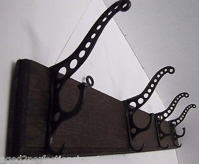 Antique Victorian Cast Iron Four Hanger Rack Wood Mount triple hook 19c architec 3 • CAD $501.75