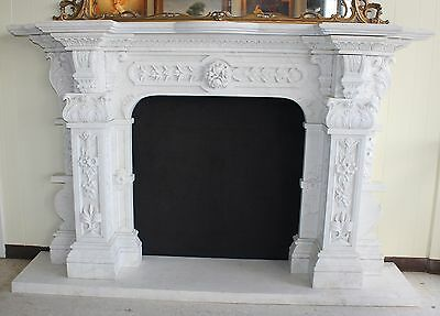 Hand Carved Carerra Marble Country French Monumental Fireplace Mantel Columns 3