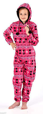 Selena Girl All in One- Fairisle Pattern Hooded with Pom Pom/Age 7 to 13 yrs 2