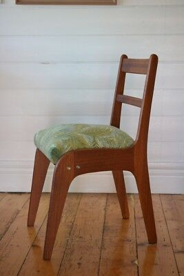 Vintage Mid century wooden chair tropical fern fabric : price for one chair only 12