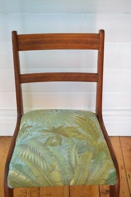Vintage Mid century wooden chair tropical fern fabric : price for one chair only 6
