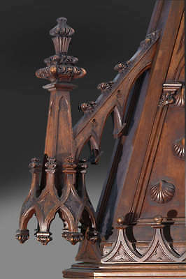 A Monumental Gothic Style Carved Walnut & Polychrome Decorated Fireplace 6