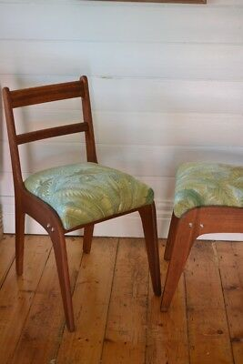 Vintage Mid century wooden chair tropical fern fabric : price for one chair only 2