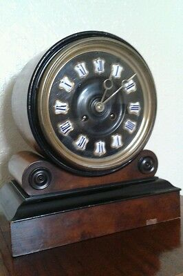Antique 1880's French Burr Walnut Barrel Style Count Wheel Clock 8