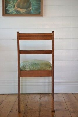 Vintage Mid century wooden chair tropical fern fabric : price for one chair only 10