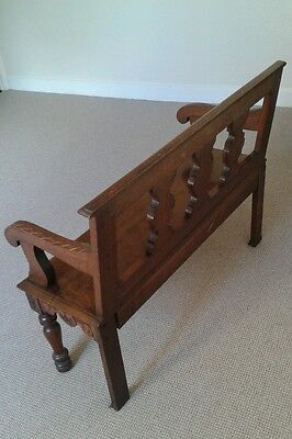 Antique victorian hall bench seat chair monks bench settle reception hall bench 11