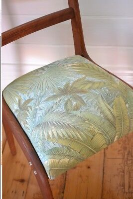 Vintage Mid century wooden chair tropical fern fabric : price for one chair only 3