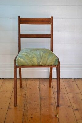 Vintage Mid century wooden chair tropical fern fabric : price for one chair only 5