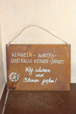 """Metallschild /""""Edelrost/"""" warten .../"""" Tafel mit Beschriftung /""""Klingeln"""