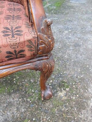 Stunning Late 19th Century Victorian Caned Ball And Claw Tub Armchair. 6