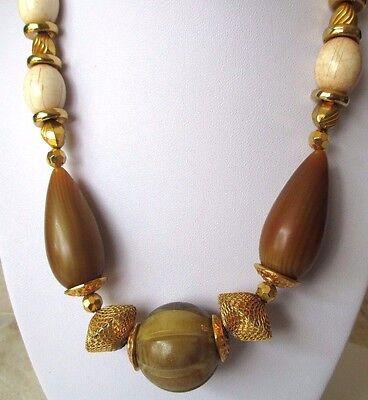 collier bijou vintage année 60 couleur or décor perle grillage marbré  brun 463 2