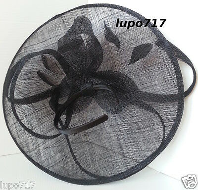 Big Black Sinamay Feather Hat Fascinator Wedding Ascot Race Hen Party Ladies Day 9
