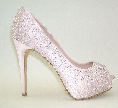 b5dc2dfa875 NEW LOOK SIZE 3 6 7 Pale Pink Peach Nude Diamante Satin Bridal High Heel  Shoes