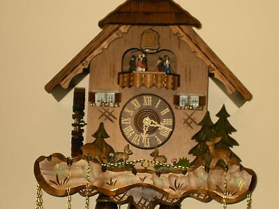 8 day Cuckoo Clock with music and Wooden Weights WORKING  AND SERVICED set of 1 12