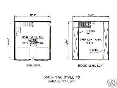 1 Of 2FREE Shipping 30 X 36 2 Stall FG Garage Building Blueprint Plans W/ Loft