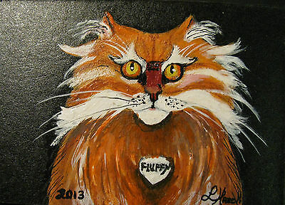 """A669    Original Acrylic Aceo Painting By Ljh        """"Joey""""  Cat  Kitten 5"""