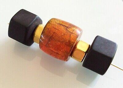 Perlando Vintage -  Aussergewöhnliche Solitär Perle Bernsteinfarben 25 Mm 2