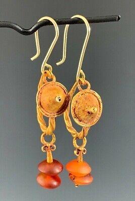 Ancient Roman Gold Shield & Carnelian Earrings; Elegant & Wearable! 3