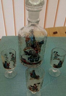 3 Glasflaschen mundgeblasen mit eingeschliffenem Glasstopfen 3,2,6 Trinkgläser 5