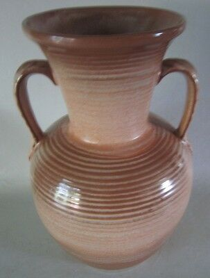 Vintage Frankoma Pottery 71 Satin Brown Leaf Handled Vase 10 34