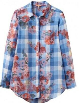 JOULES Womens Jeanne Print Linen Blue Gingham SHIRT SIZE UK 8 5