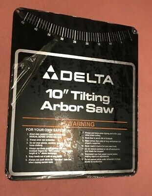 """Delta Tilting Arbor 10"""" Table Saw Nameplate for 36-750 2"""