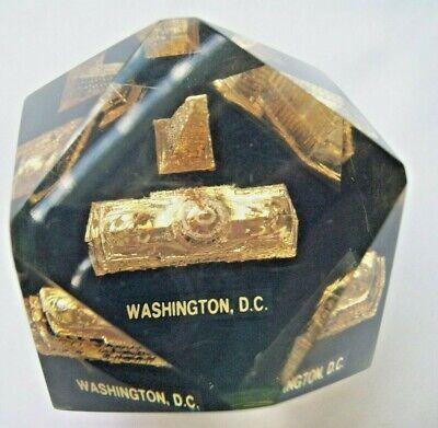 Washington DC Capitol+ Monument Vtg Souvenir Paperweight Faceted Lucite Acrylic 4
