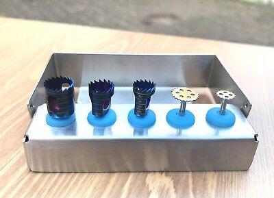 Dental Implant Trephine Drill & Saw Disk Kit 5 Pcs Bone Cutting Surgical Tools 5