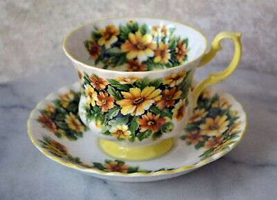 TEACUP and SAUCER SET - Royal Albert Fragrance Series MARGUERITE Flower, England 2