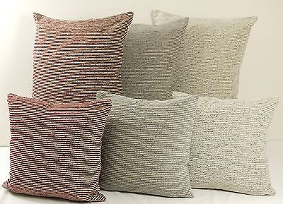 Large or Small Rustic Country Stripe Chenille Cushion Cover with a Hint of Gold