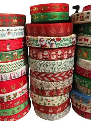 Christmas Ribbon Huge Selection! Happy Xmas! Sold by the meter 3