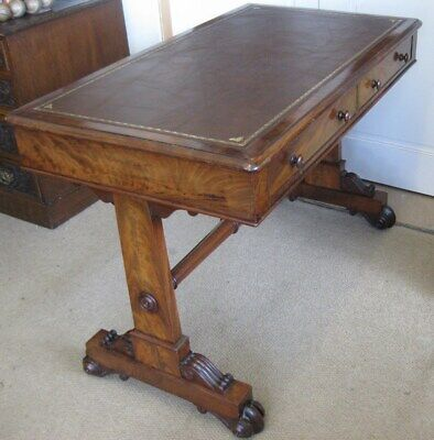Antique Victorian Walnut Library Leather Top Table / Writing Sofa /Stunning Desk 3