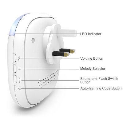 Wireless Plug-in Door Bell Chime Waterproof 4 Receivers Sync 2 Bell Pushers 150M 2