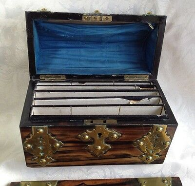 Victorian Coromandel Wood Brass Domed Stationery Box & Blotter Letter Writing 11