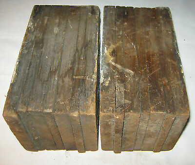 2 Antique Architectural Salvage Wood Block Corbel Industrial Art Statue Bookends 5