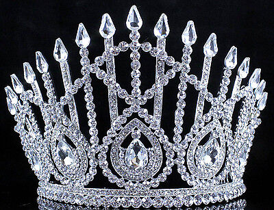 Drop Clear Austrian Crystal Rhinestone Tiara With Hair Combs Crown Pageant T800
