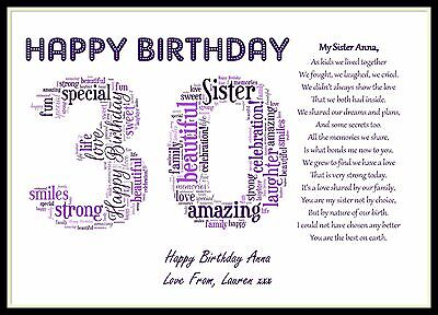 Personalised Special Sister Poem Word Art 30th Birthday Gift Present 8