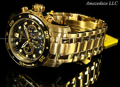 NEW Invicta Men's Pro Diver Scuba Chronograph Stainless Steel Black Dial Watch!! 7