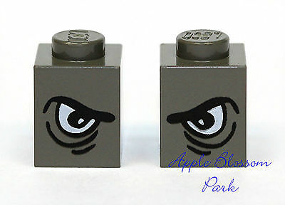 1 Pair Angry Animal Eye Lot NEW Set//2 Lego Dark Gray 1x1 GRIM EYE BRICKS