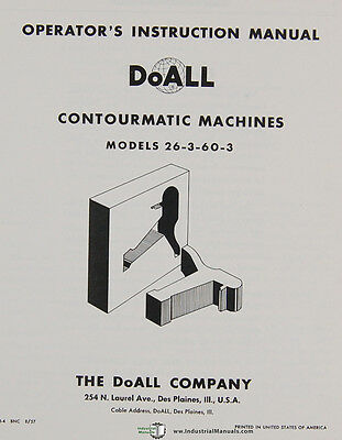 Doall 26-3-60-3, Contourmatic Operations and Maintenance Manual 2