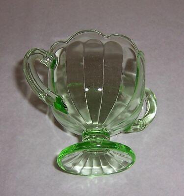 Footed Sugar Bowl Green Depression Glass - Scallop Rim - Paneled Sides 3