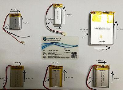 BATTERIE al polimeri di litio a celle 3,7 volt per varie mAh droni modellismo 3