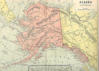 ORIGINAL 1882 ANTIQUE US United States Territory Map ALASKA ...